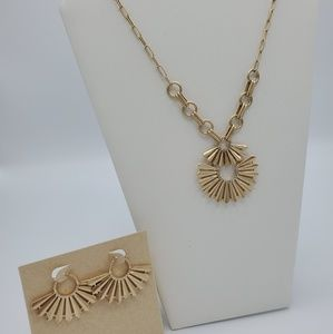 Japanese Fan-inspired necklace and earrings set